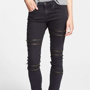 New RAG & BONE/JEAN Ordaz Jeans Moto Zipper